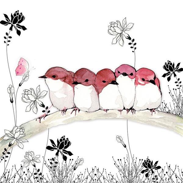 Karnet Swarovski kwadrat CL1207 Różowe ptaszk