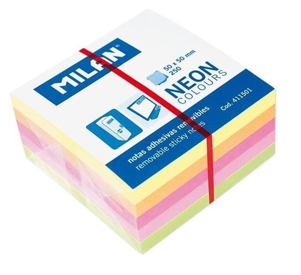 Karteczki neon mix minikostka 50x50 250szt MILAN