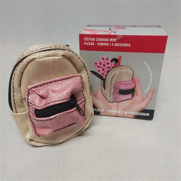 Mini plecak-piórnik - beżowo-różowy