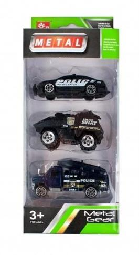 Auta policyjne metalowe 8cm 3el
