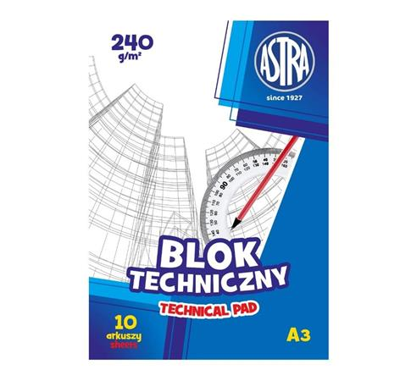 Blok techniczny A3/10K 240g (10szt) ASTRA
