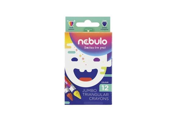 Kredki świecowe trójkątne Jumbo 12 kolorów NEBULO
