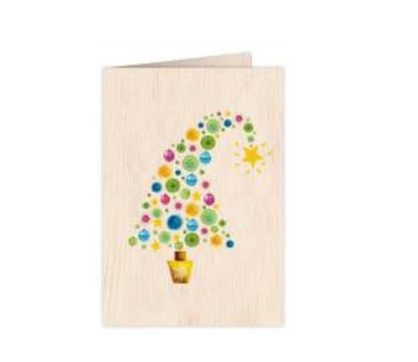 Karnet drewniany C6 + koperta Święta Choinka