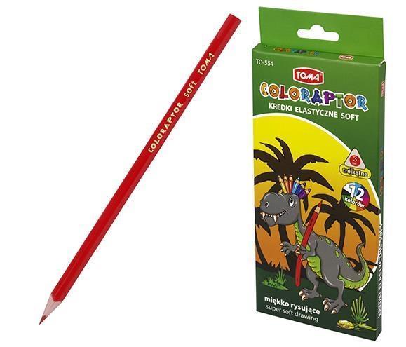 Kredki elastyczne Coloraptor soft 12 kolorów TOMA