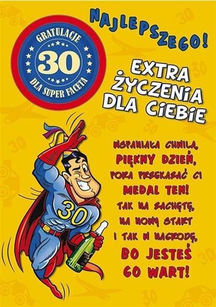 Karnet Party naklejany B6 koperta Urodziny 30 wz06-342152