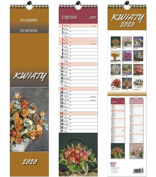 Kalendarz 2020 13 Plansz paskowy - Kwiatki EV-CORP