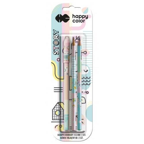 Długopis usuwalny + 2 ołówki Story bls HAPPY COLOR