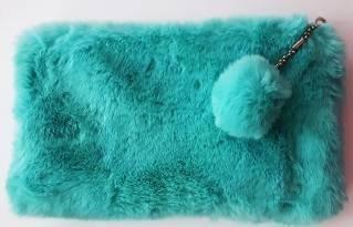 Kosmetyczka/Piórnik - futro (niebieski)