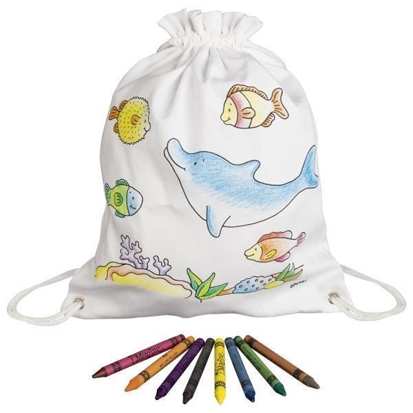 Bawełniany worek do kolorowania z kredkami- Delfin