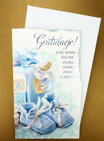 Karnet Życzenia narodziny + koperta ARGUS