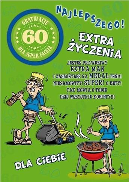 Karnet Party naklejany B6+koperta Urodziny 60 wz04