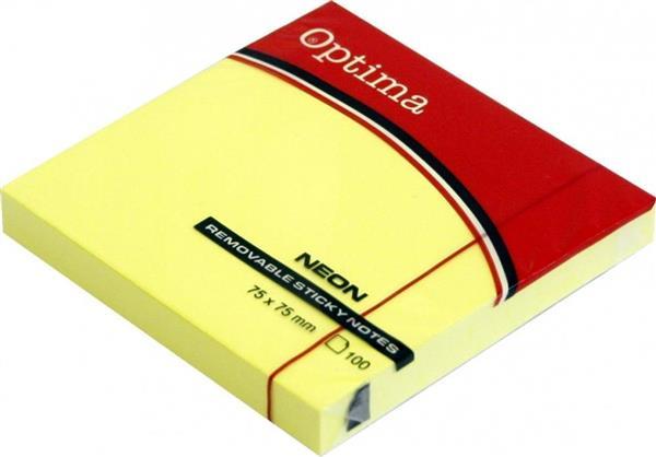 Karteczki samoprzylepne 75x75mm żółte OPTIMA