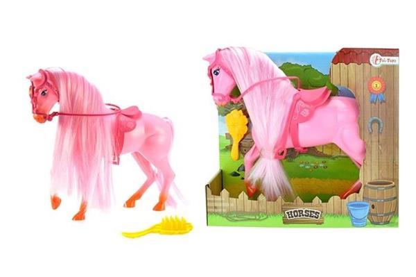 Koń duży w kolorze różowym ze szczotką