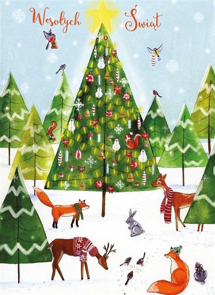 Karnet B6 Boże Narodzenie - Zwierzaki