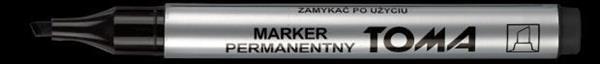 Marker permanentny ścięty czarny (10szt) TOMA
