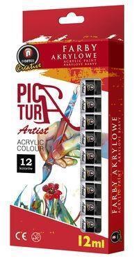 Farby akrylowe 12 kolorów tuba 12ml NOSTER