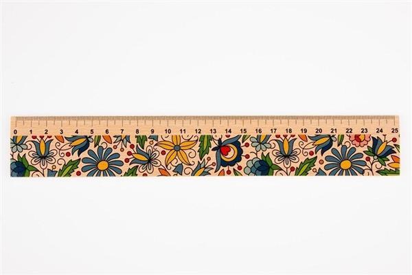 Linijka drewniana 25 cm kaszubska FOLKSTAR-163701
