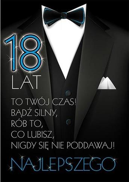 Karnet Party naklejany B6 koperta Urodziny 18 wz11-342159