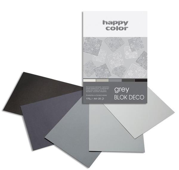 Blok A4/20K Deco Grey 170g HAPPY COLOR