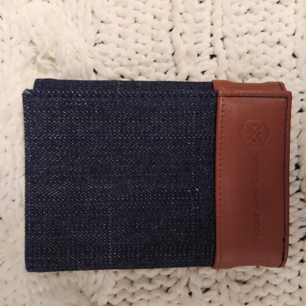 Markowy męski portfel HOUSE, jeansowy