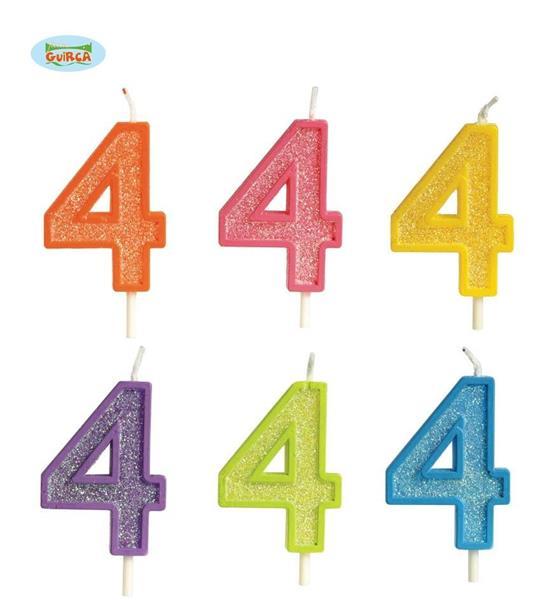 Brokatowa cyfra 4 świeczka na tort 4cm Mix kolorów