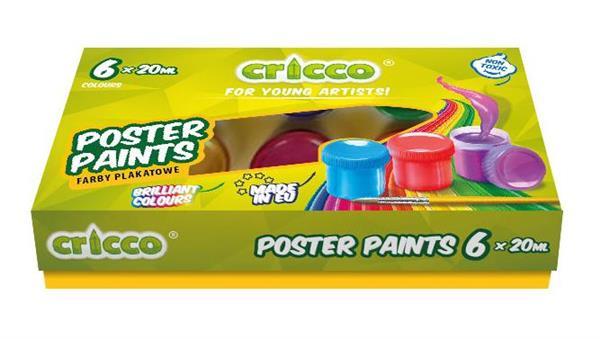 Farby plakatowe 6 kolorów CRICCO