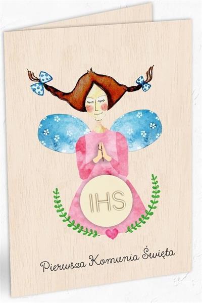 Karnet drewniany C6 Komunia dziewczynka + koperta