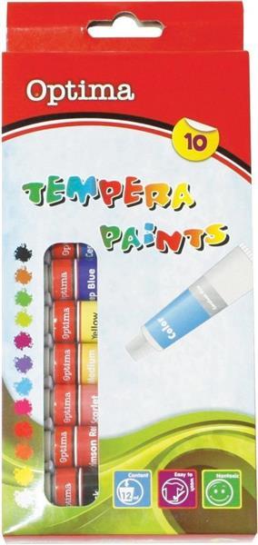 Farby tempera 10 kolorów OPTIMA