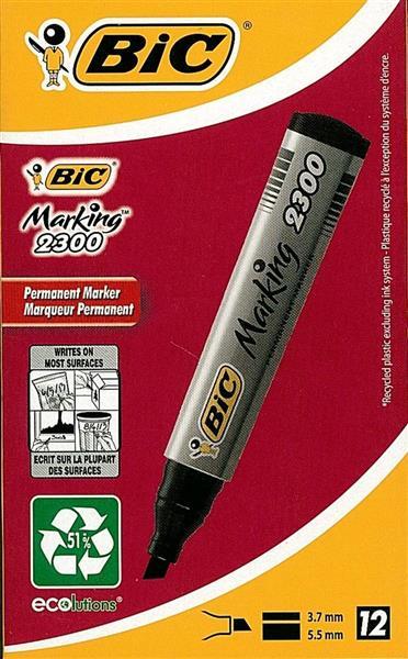 Marker Marking 2300 ścięty czarny (12szt) BIC