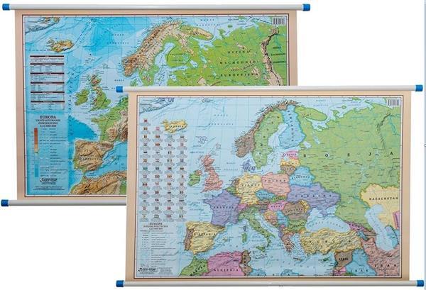 Mapa ścienna - polityczno-fiz. 1:12 000 000 Europa